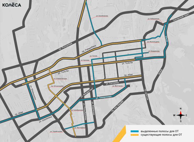Карта выделенных полос