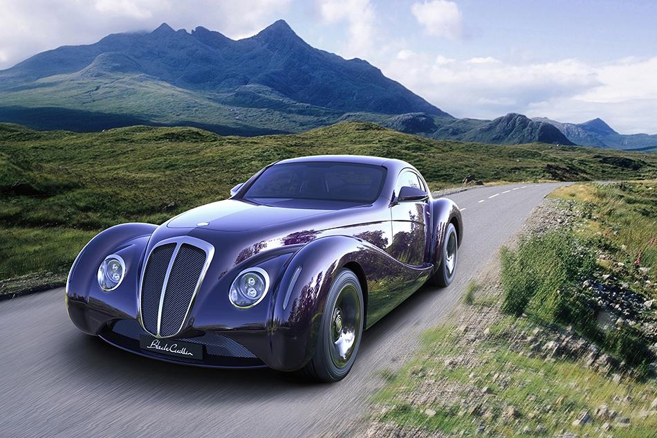 Eadon Green Black Cuillin. Ретро-спорткар стал попыткой воссоздать волшебный спорткар Alfa Romeo 8C2900 из1930-х. Под капотом унего 6-литровый V12, авсалоне часы Garrick England. Больше информации омашине нет.