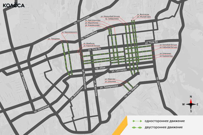 Карта односторонних улиц
